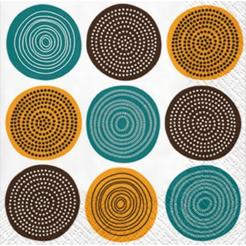 TRIBAL PATTERN papírszalvéta 33x33 cm 3 rétegű körök - SDL030302