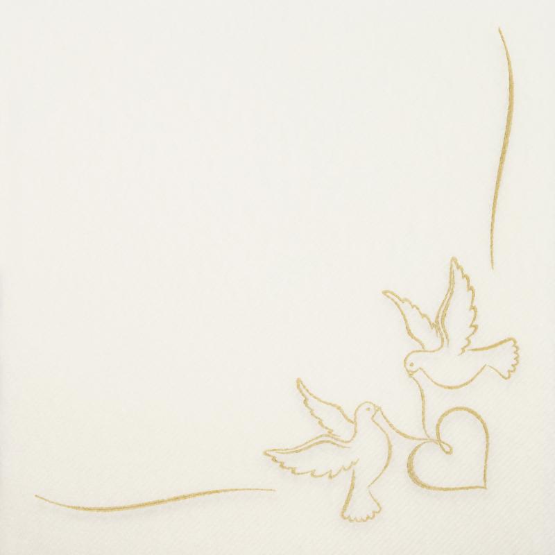 Textilhatású szalvéta 40x40 cm Doves - arany - AAN005309