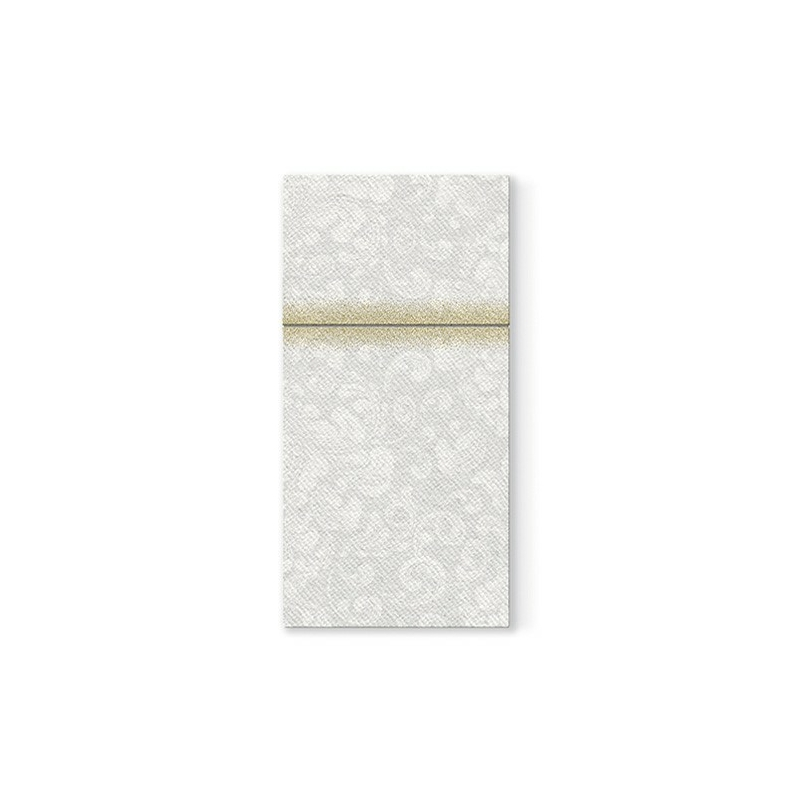 Textilhatású 1/8 hajtású evőeszköztartós szalvéta Rococo - fehér
